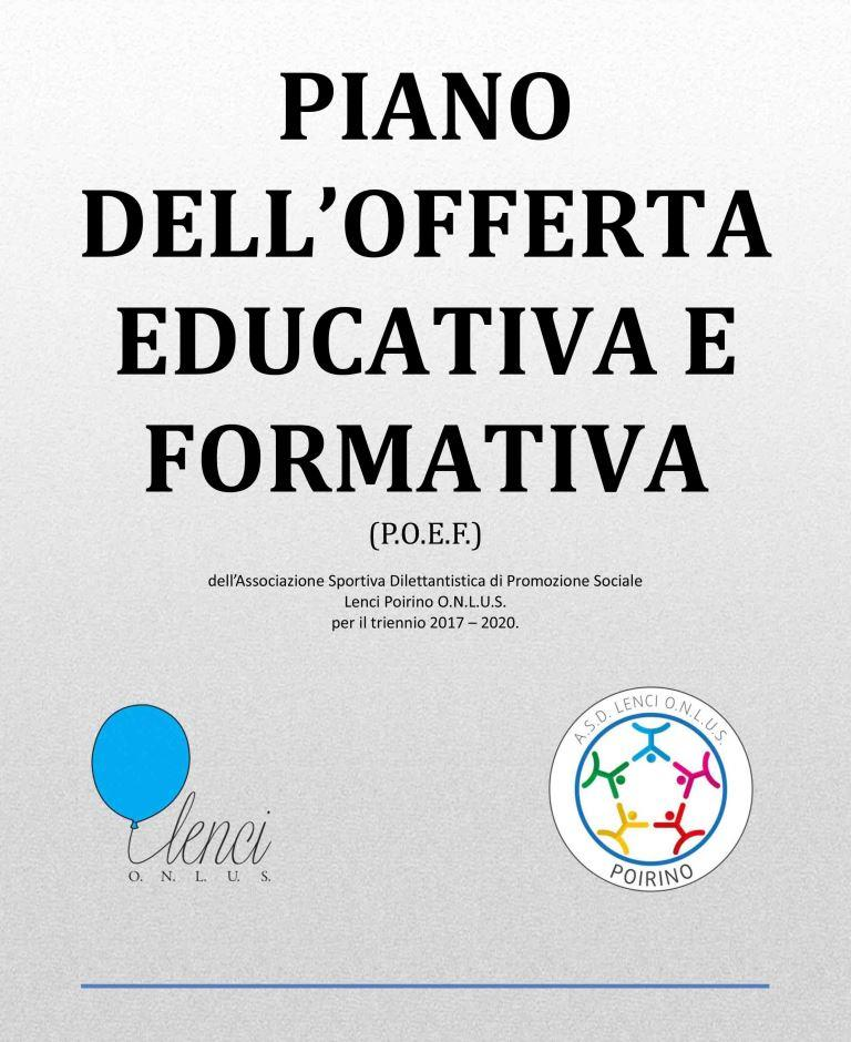 PIANO DELL'OFFERTA EDUCATIVA E FORMATIVA
